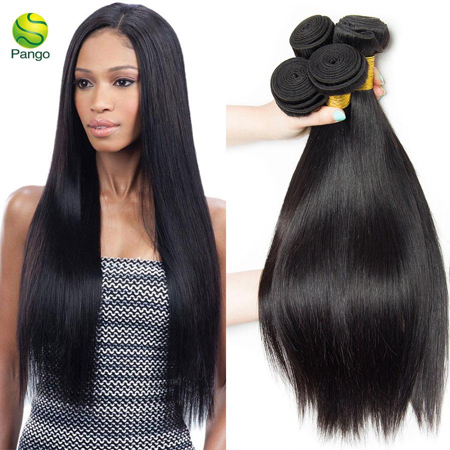 9a Human Hair Weave Straight 1 Bundle Human Hair Extensions Natural Black Color Pango