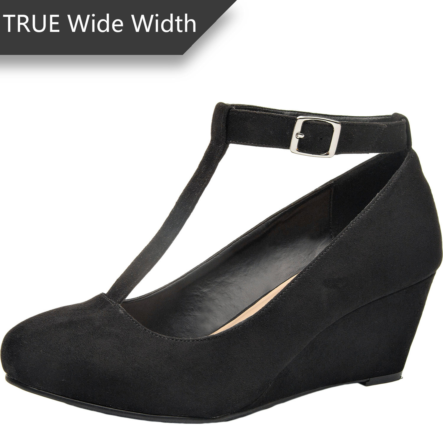 a3b7dc08d US  39.99 - Luoika Women s Wide Width Wedge Shoes - Mary Jane Heel Pump  with T-Strap. - www.luoika-us.com