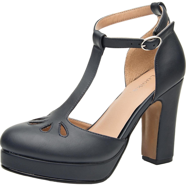 13bb40193 US  39.99 - Luoika Women s Wide Width Heel Sandals - Ankle Buckle T-Strap  Mid Heel Close Toe Platform Summer Heel Pump. - www.luoika-us.com