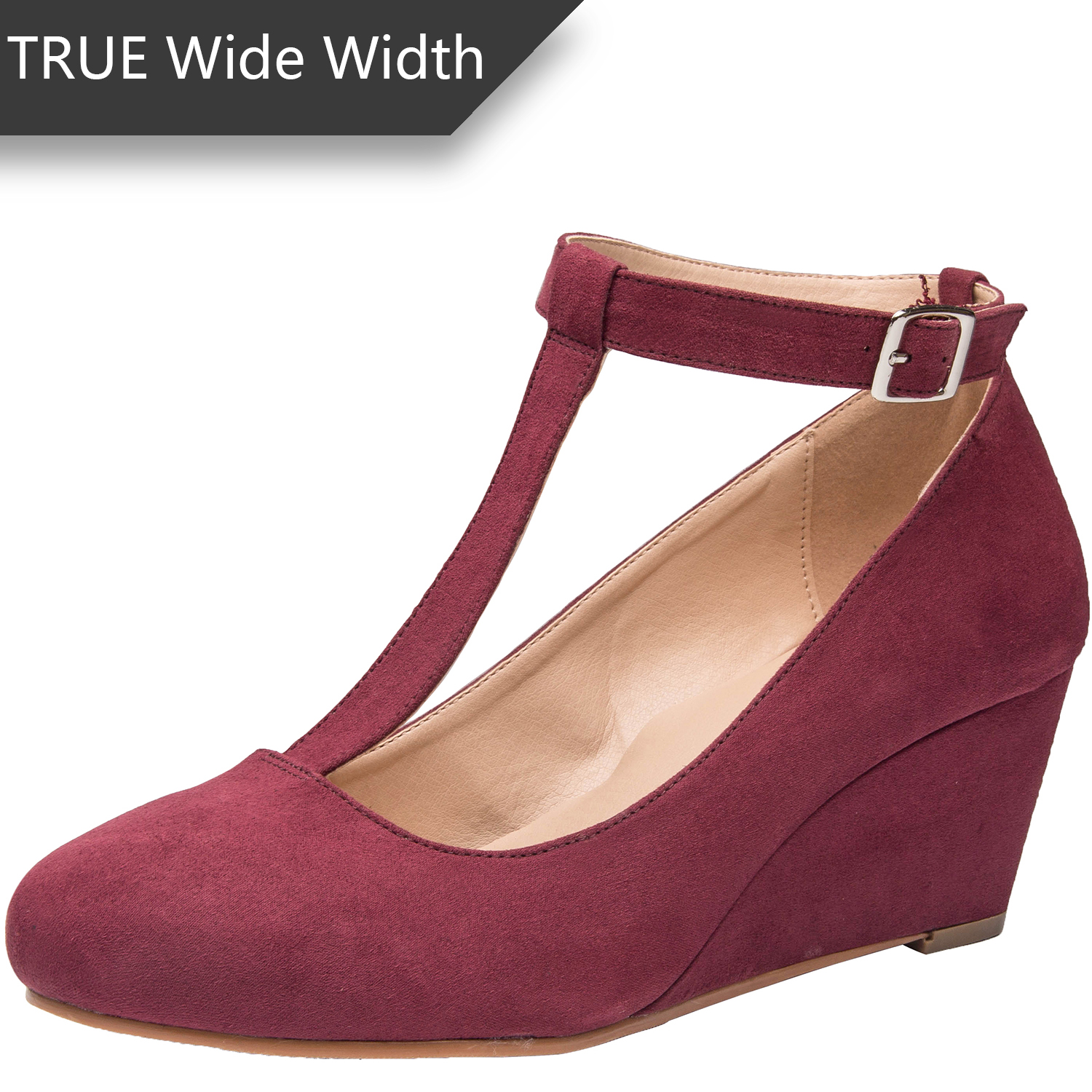 23f43c30293 US  39.99 - Luoika Women s Wide Width Wedge Shoes - Mary Jane Heel Pump  with T-Strap. - www.luoika-us.com