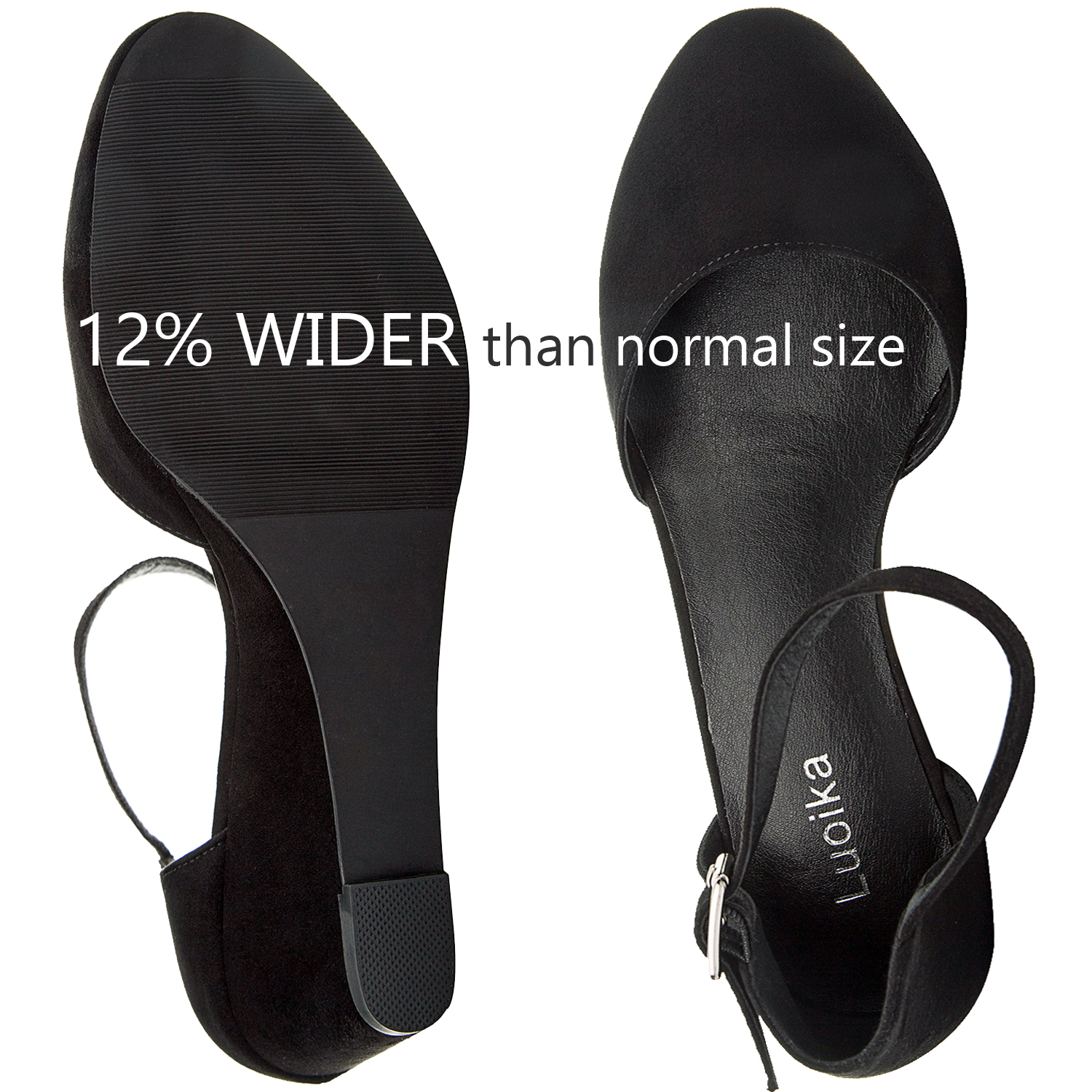 d71afb9f8c80 US  39.99 - Luoika Women s Wide Width Mini Wedges - Comfortable Mid Low  Heel Ankle Buckle Strap