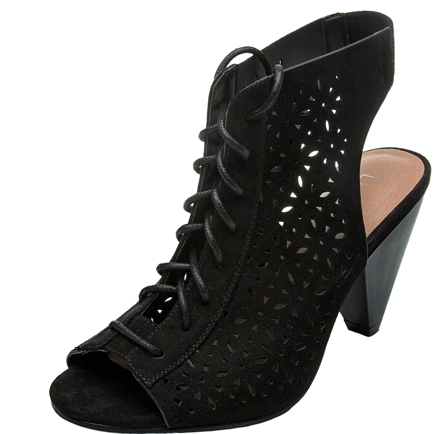 759428a76e4 Women's Wide Width Cone Heeled Sandal - Open Toe Lace up Suede Embroidery  Flower Summer Boots.