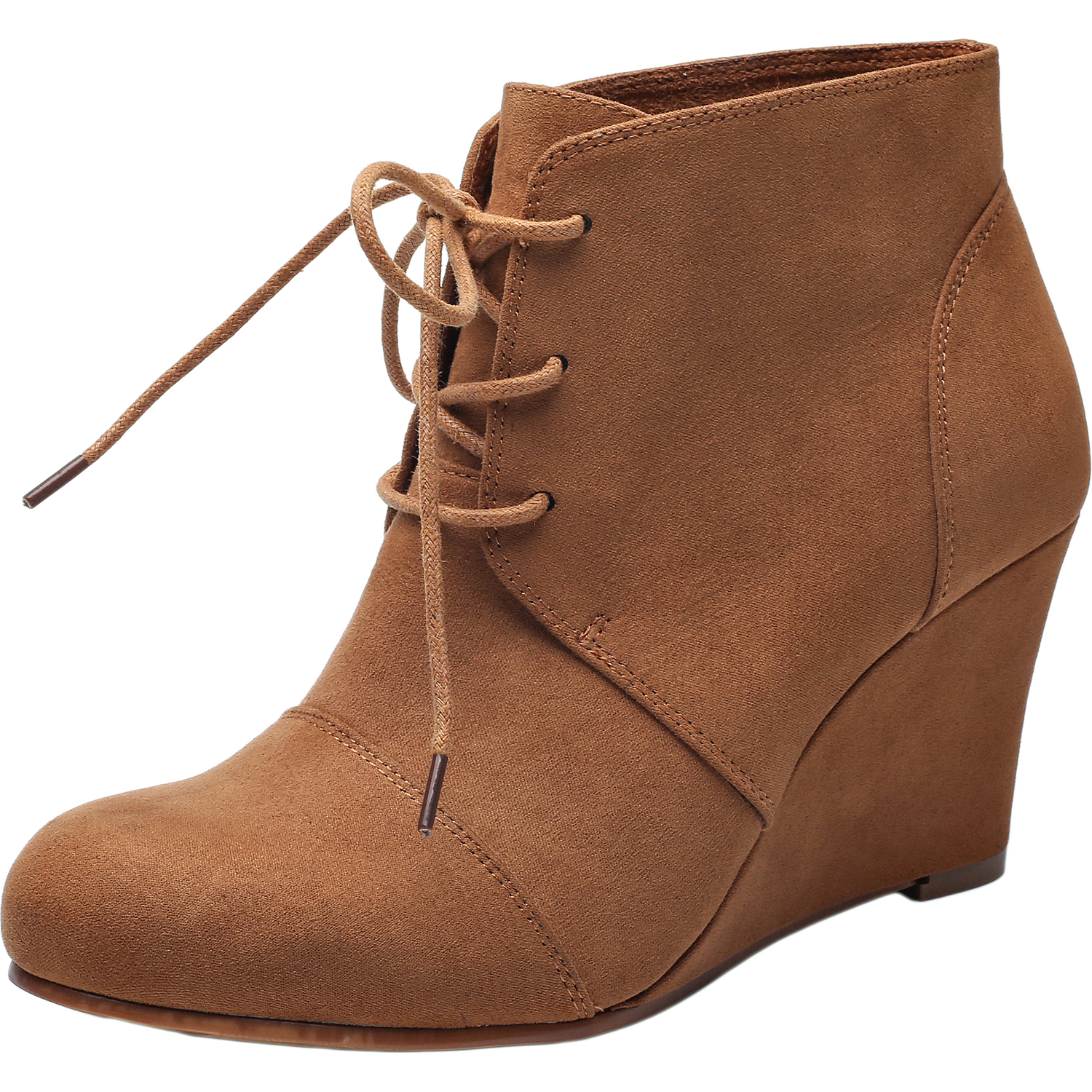 3c14e1706a43 US  45.99 - Women s Wide Width Wedge Boots - Lace Up Low Heeled Ankle  Booties w Round Closed Toe Rubber Sole Memory Foam Insole. -  www.luoika-us.com