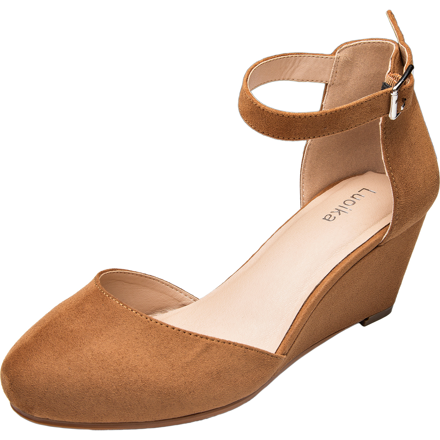 b2c3b1522f1 Us luoika womens wide width mini wedges comfortable mid low heel ankle  buckle strap plus size · Download Image