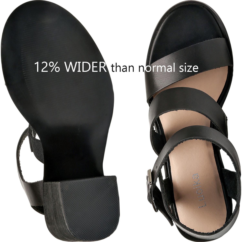8a81bd1137c US  39.99 - Luoika Women s Wide Width Heeled Sandals - Ankle Buckle Strap  Mid Chunky Heel Open Toe Dress Heel Pump. - www.luoika-us.com