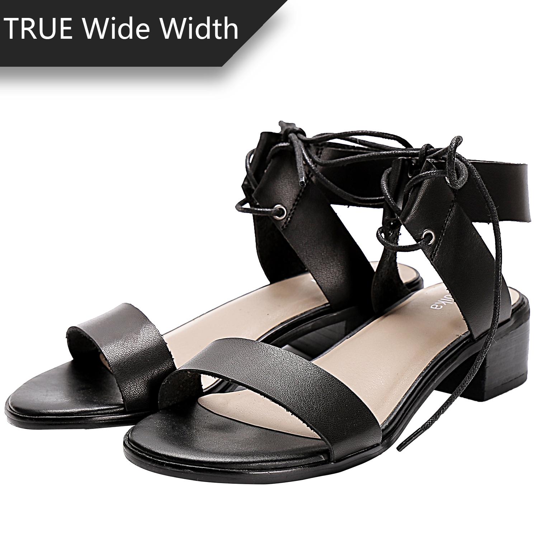 c30b1bce7ae US  39.99 - Women s Wide Width Heeled Sandals - Lace up Open Toe Ankle  Strap Flexible Low Heel Shoes. - www.luoika-us.com