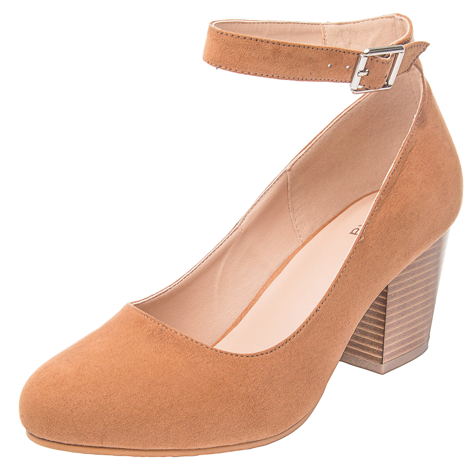 7c7fab76bfe2 US  39.99 - Luoika Women s Wide Width Heel Pump - Ankle Buckle Strap Round  Closed Toe Dressing Shoes. - www.luoika-us.com