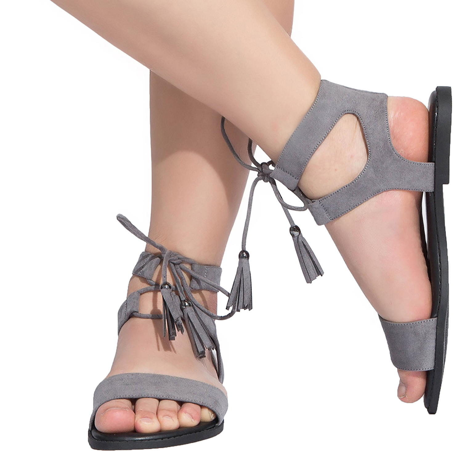 058835cfa964 US  29.99 - Women s Wide Width Flat Sandals - Comfortable Lace up Fringed  Tassel Ankle Strap Suede Dress Shoes. - www.luoika-us.com