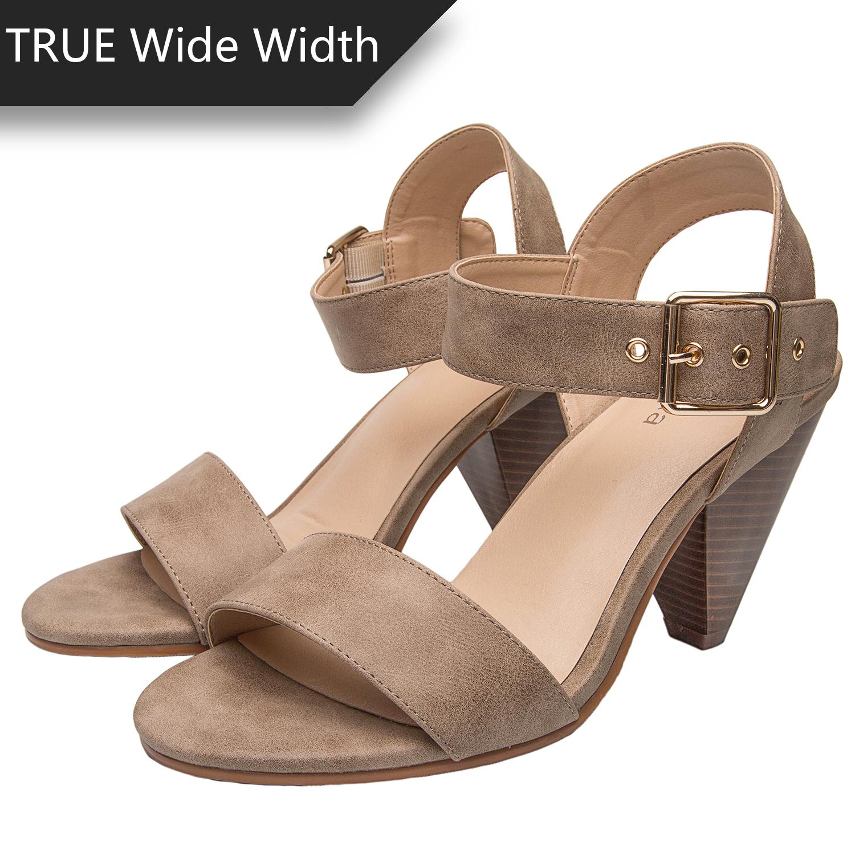 91e82d74c2 US$ 39.99 - Luoika Women's Wide Width Cone Heeled Sandal - Open Toe Ankle  Strap Adjustable Metal Buckle Low Heel Summer Shoes - www.luoika-us.com