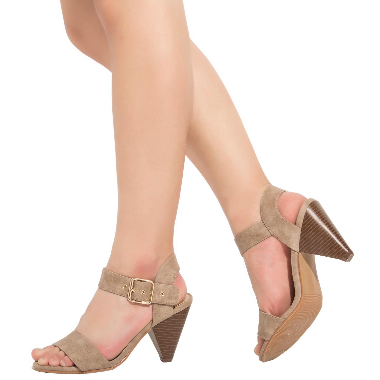 e2fc358604b US  39.99 - Luoika Women s Wide Width Cone Heeled Sandal - Open Toe Ankle  Strap Adjustable Metal Buckle Low Heel Summer Shoes - www.luoika-us.com