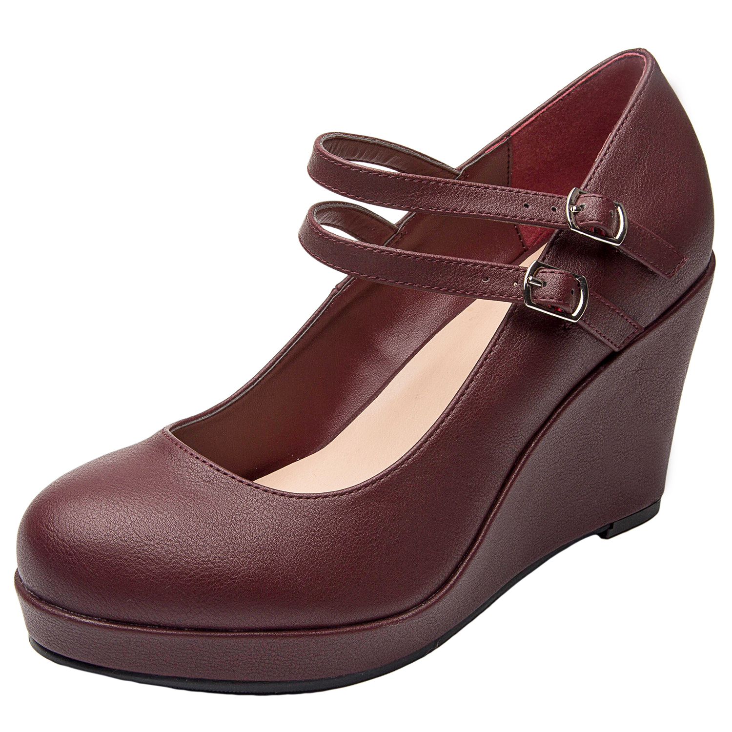 4e81dd1d275c Luoika Women s Wide Width Wedge Shoes - Mary Jane Ankle Buckle Double Strap  Round Closed Toe. Loading zoom