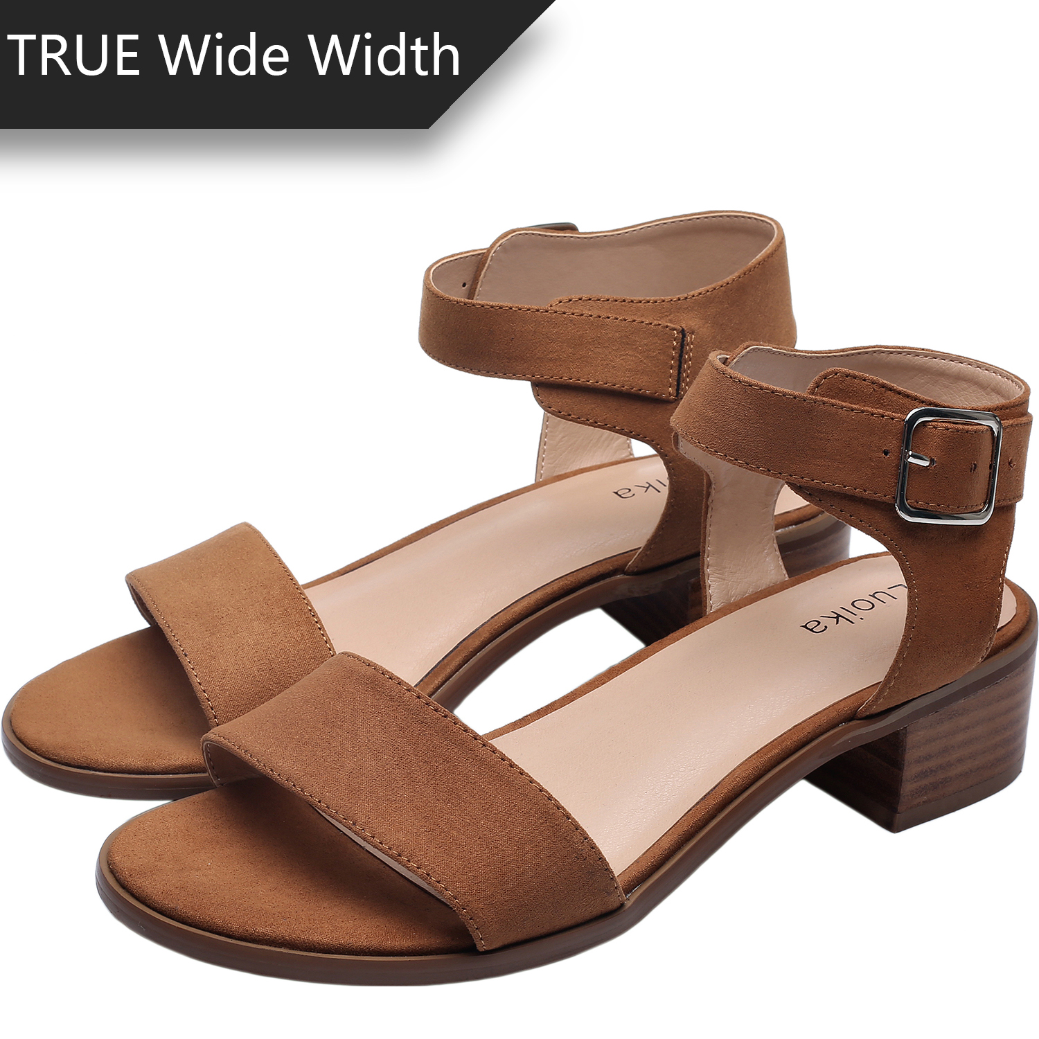 d2db052b0d US$ 29.99 - Luoika Women's Wide Width Heeled Sandals - Classic Low Block  Heel Open Toe Ankle Strap Suede Summer Shoes. - www.luoika-us.com