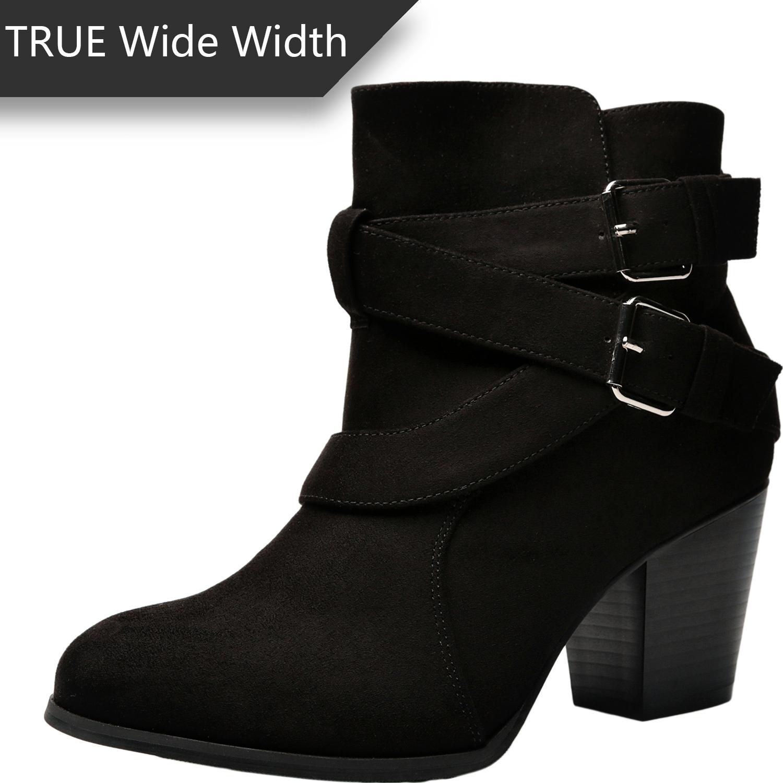 7082a39e5752 US  49.99 - Luoika Women s Wide Width Ankle Booties - Three Cross Strap Buckle  Mid Block Heel Side Zipper Boots. - www.luoika-us.com