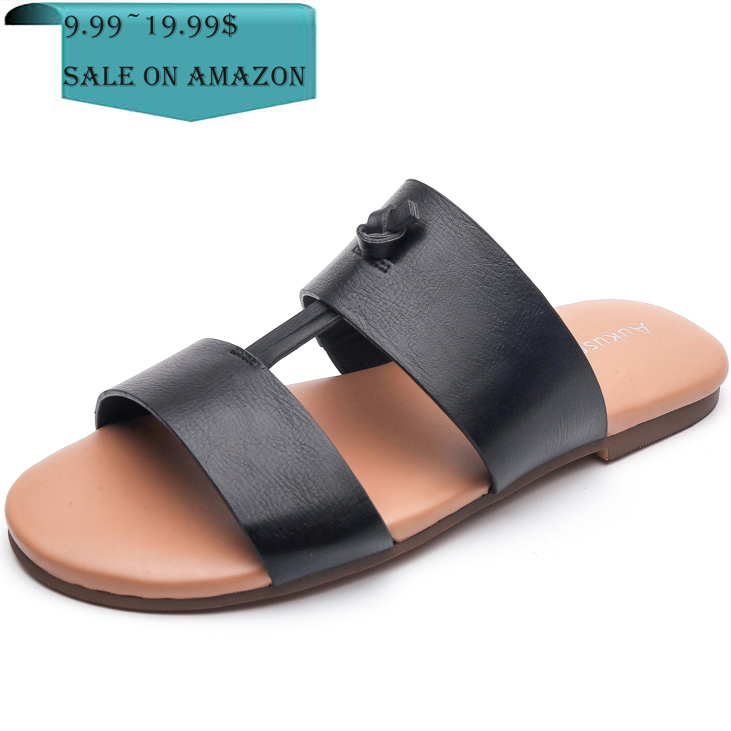 a2cc5993a87 US  29.99 - Aukusor Women s Wide Flat Sandals - Slide Summer Shoes with Two  Straps and Memory Foam Insole - www.luoika-us.com