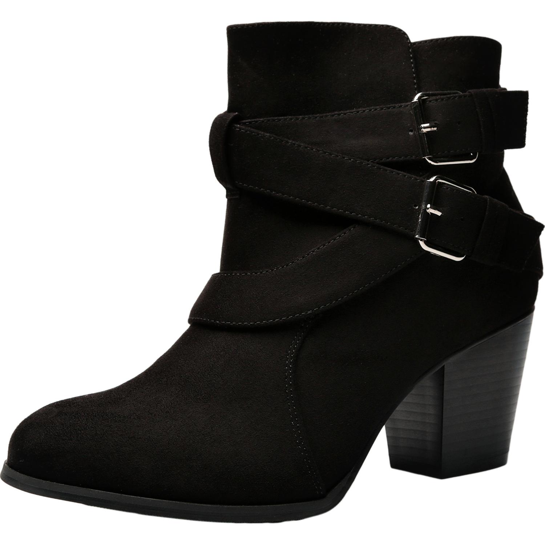 3812728df1e2 US  49.99 - Luoika Women s Wide Width Ankle Booties - Three Cross Strap  Buckle Mid Block Heel Side Zipper Boots. - www.luoika-us.com