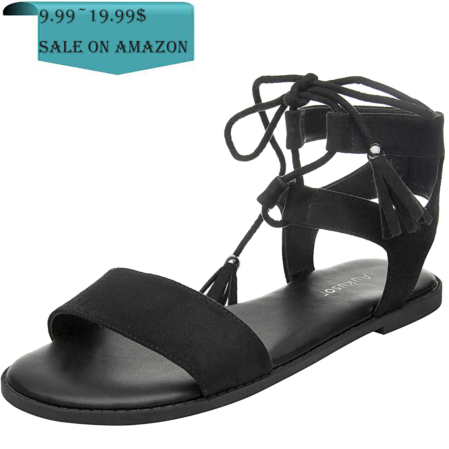 1a27cc9fc39 US  29.99 - Women s Wide Width Flat Sandals - Comfortable Lace up Fringed  Tassel Ankle Strap Suede Dress Shoes. - www.luoika-us.com