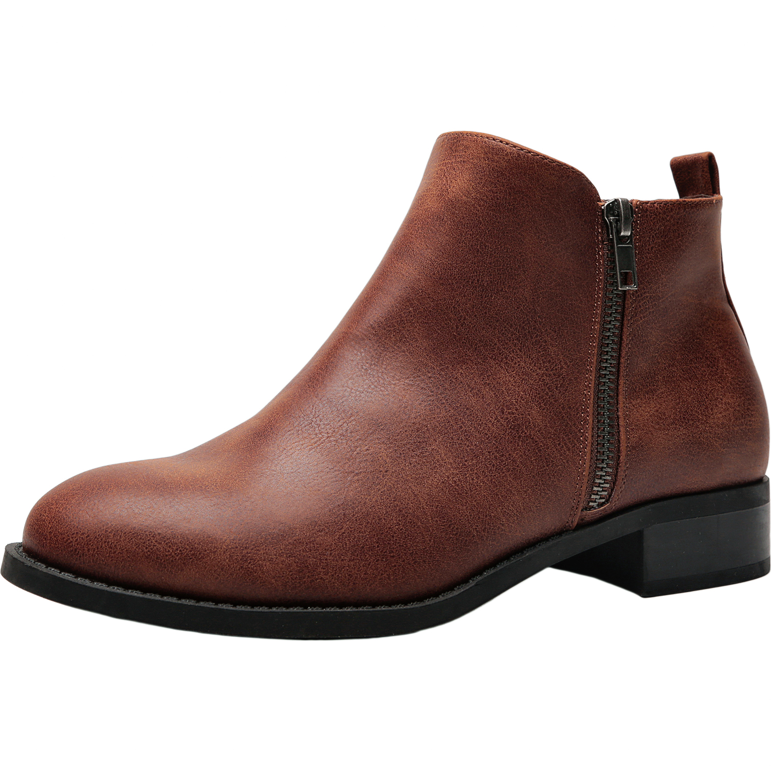 4e35af235fb US  49.99 - Women s Wide Width Ankle Booties - Classic Low Flat Heel Side  Zipper Comfortable Boots. - www.luoika-us.com