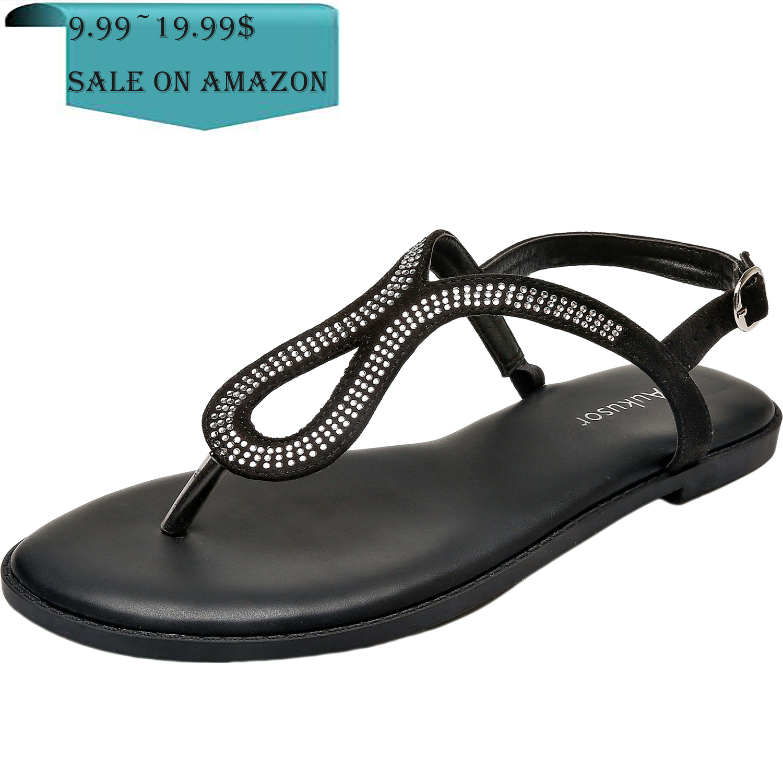 5f7400620d6 Aukusor Women's Wide Width Flat Sandals - Flip Flop Open Toe T-Ankle Strap  Flexible Summer Flat Shoes
