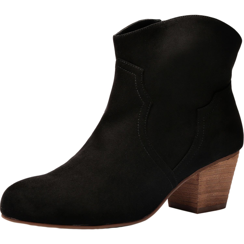 US  49.99 - Women Wide Width Ankle Boots - Chunky Mid Heel Slip On Side  Zipper Booties. - www.luoika-us.com a3cc31d84f1