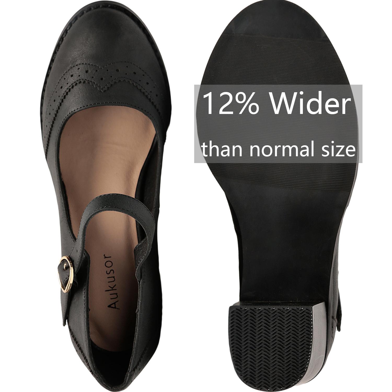 5aab5a3bda0ef Aukusor Women's Wide Width Heel Pump - Ankle Buckle Strap Mary Jean Shoes.