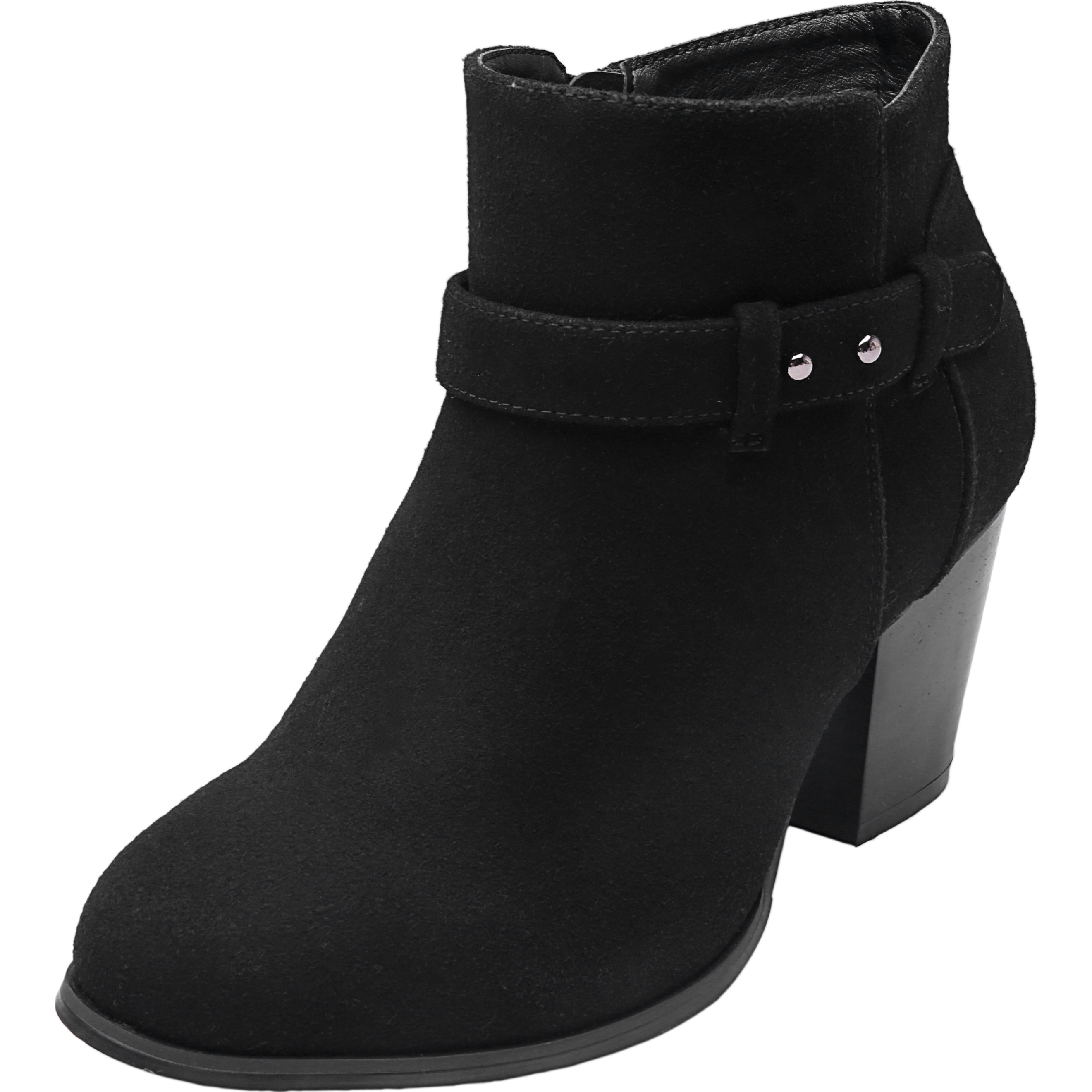 665d5f39308 Plus Size Wide Width Ankle Boots for Women Mid Chunky Block Stacked Heels  Round Toe Slip on Side Zip