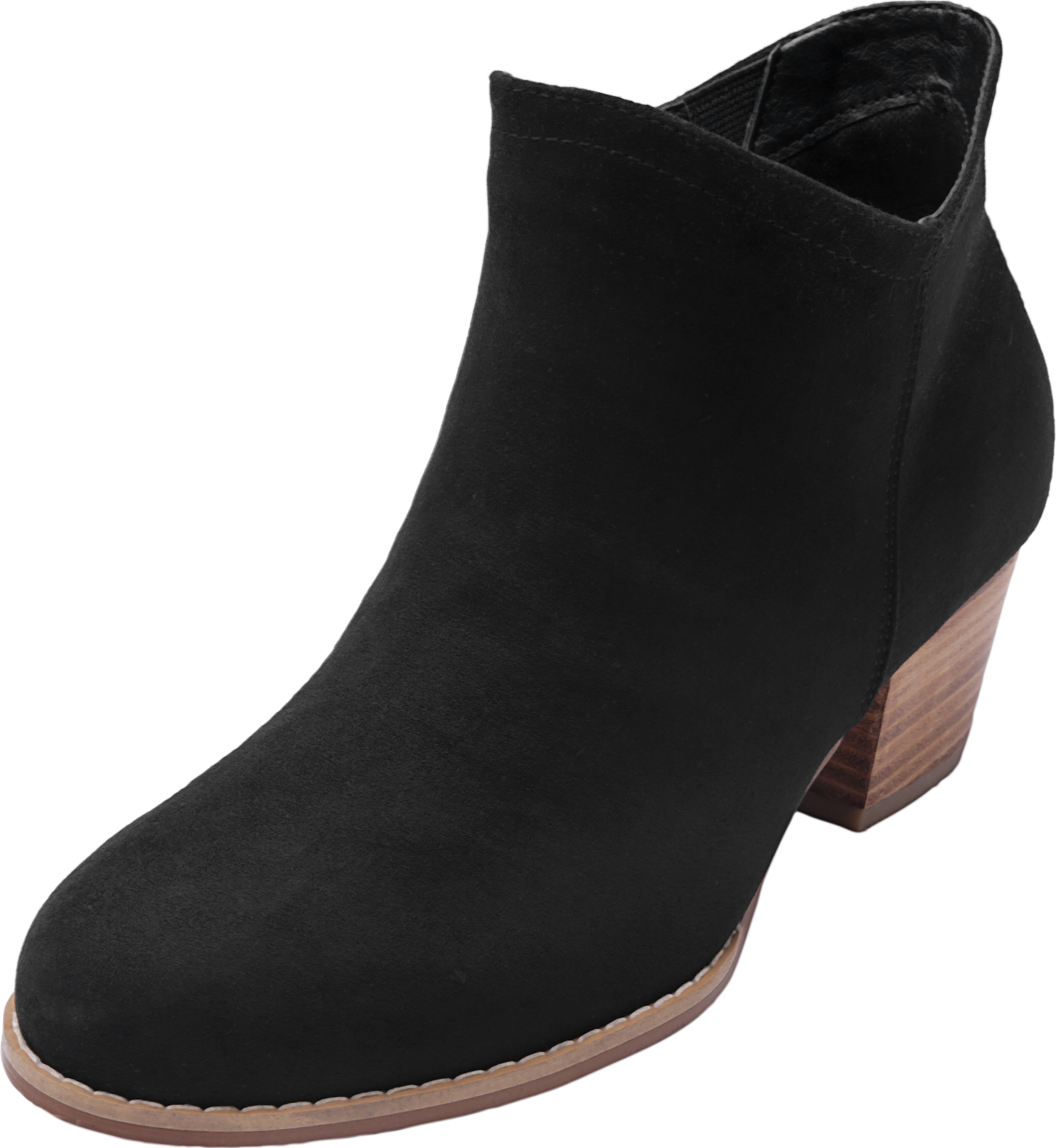 7fc2b1adbdb Luoika Women's Wide Width Ankle Booties - Side Zipper Mid Low Block Heel  Faux Suede Short Boots.