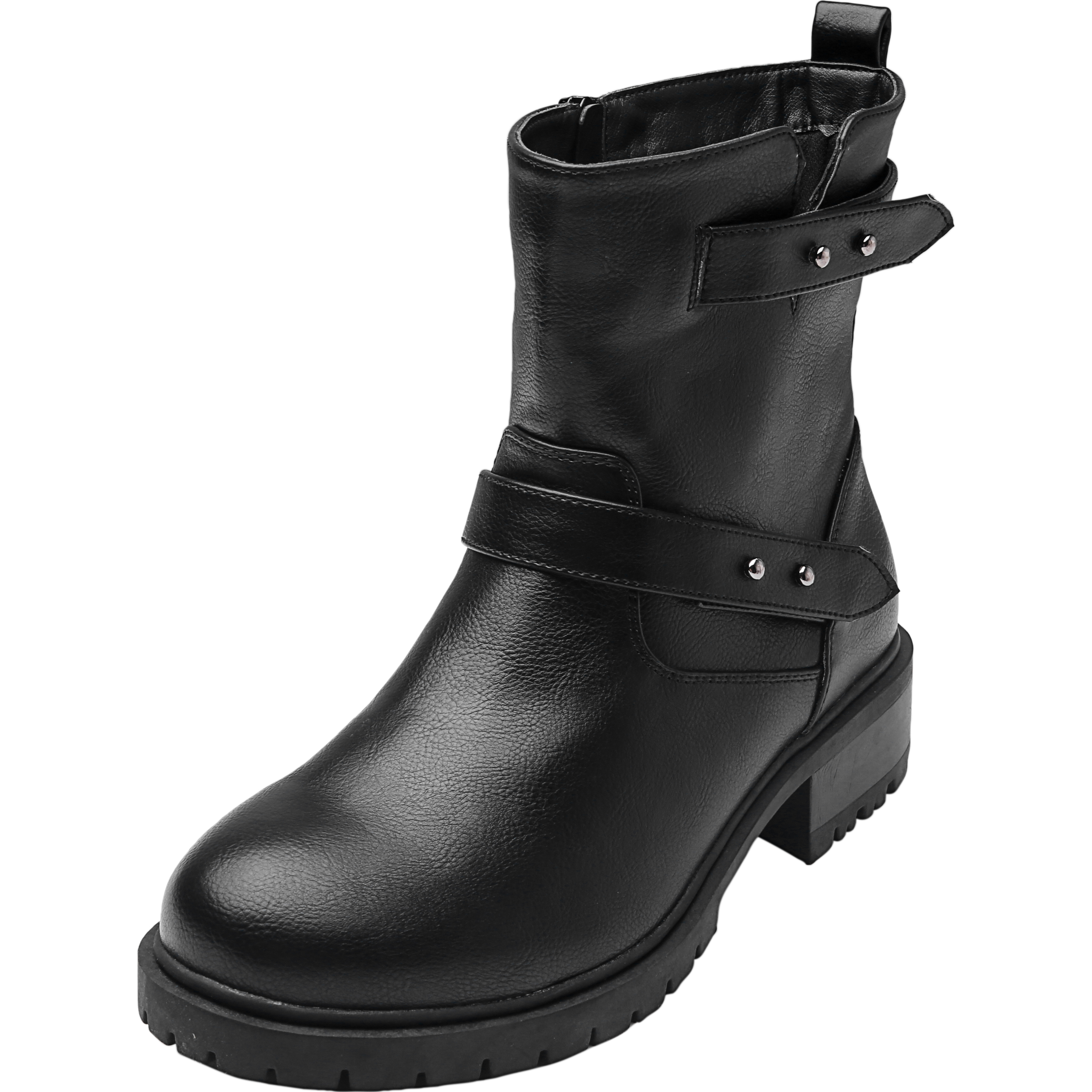 7e5e834eddf Women's Wide Width Combat Boots - Chunky Block Low Heel Back Pull-tabBuckle  Slip On Side Zipper Cozy Comfortable Work Shoes.
