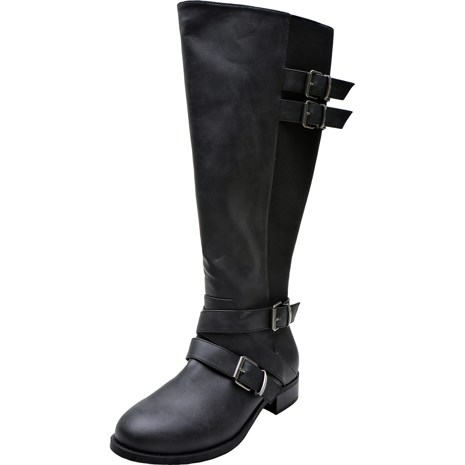 5ed0504c6af US  69.99 - Women s Wide Width Knee High Boots - Chunky Low Heel Buckle  Detial Elastic Zipper Winter Boots.(Extra Wide Calf) - www.luoika-us.com