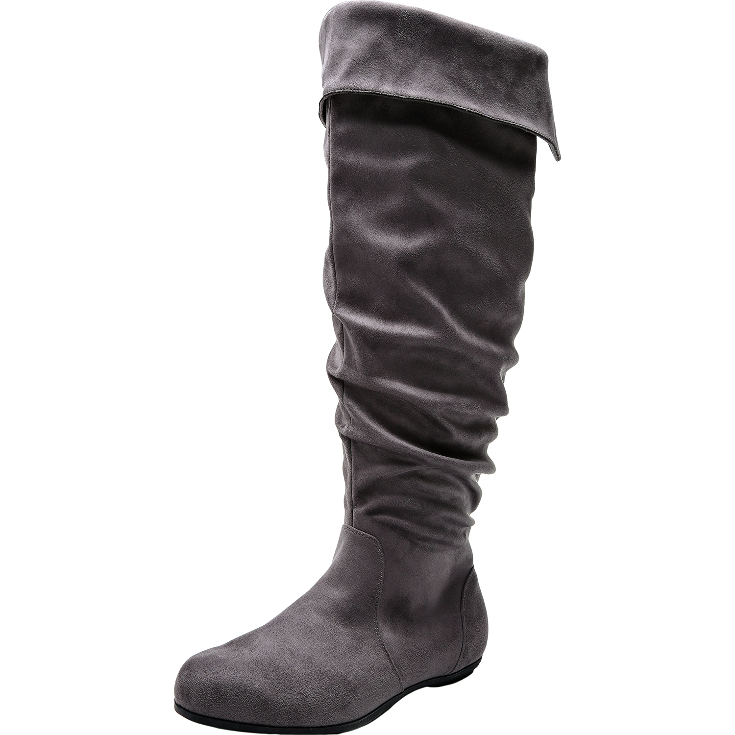 8a1960c78d4 US  69.99 - Women s Wide Width Knee High Slouch Boots - Stretchy Side  Zipper Cushioned Lining Winter Flat Boots.(Extra Wide Calf) -  www.luoika-us.com