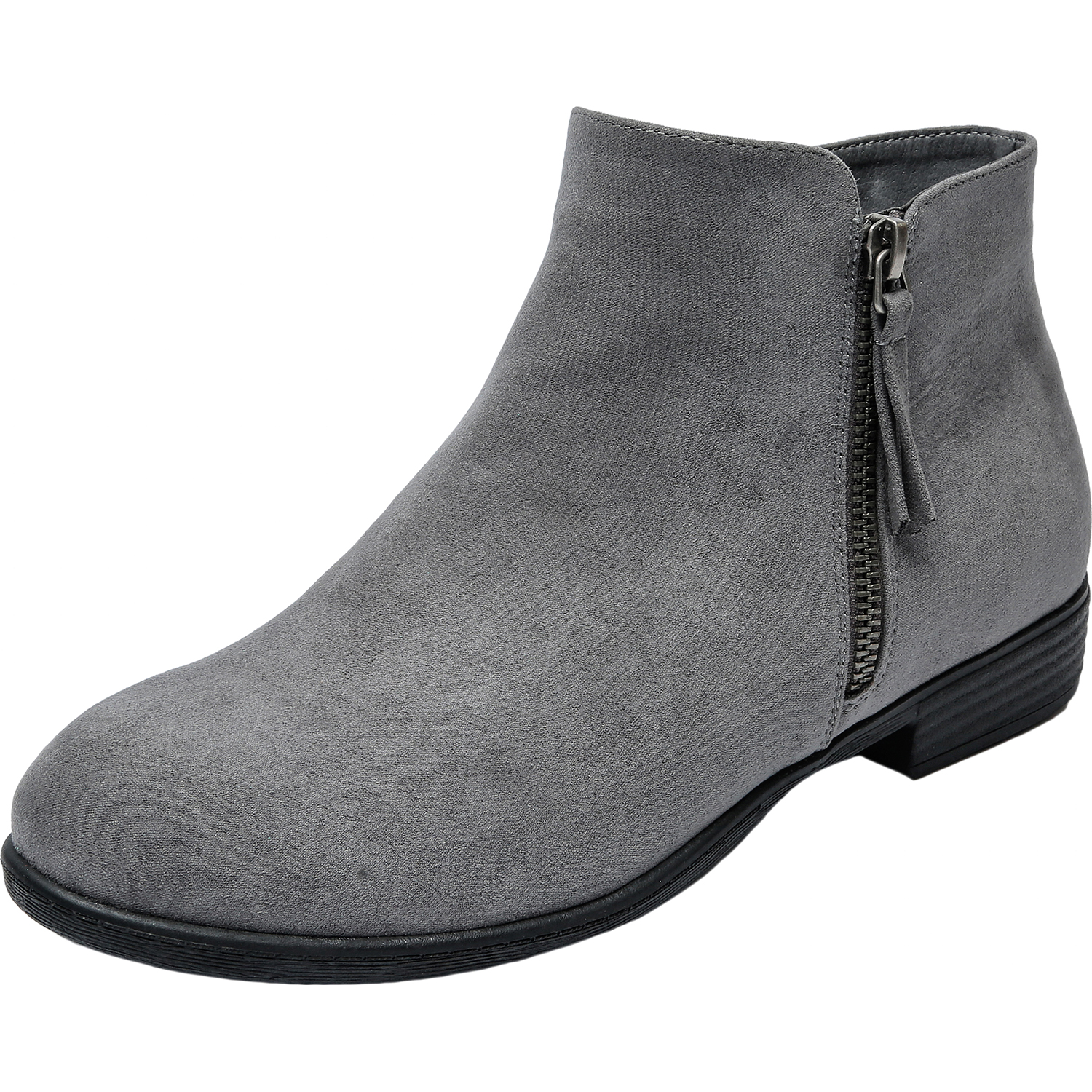 146c2ad63f61 US  49.99 - Luoika Women s Wide Width Ankle Booties - Classic Side Zipper  Low Stacked Heel Round Toe Suede Comfy Boots. - www.luoika-us.com