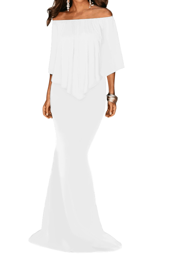 79e41886a9d3 Stylish White Off Shoulder Overlay Ruffle Evening Dress from China