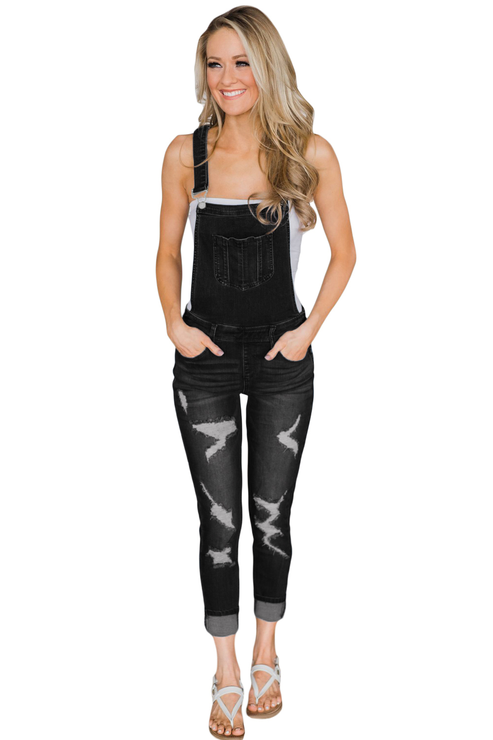 8829fd16881 Wholesale Black Wash Distressed Jeans Overalls for Women