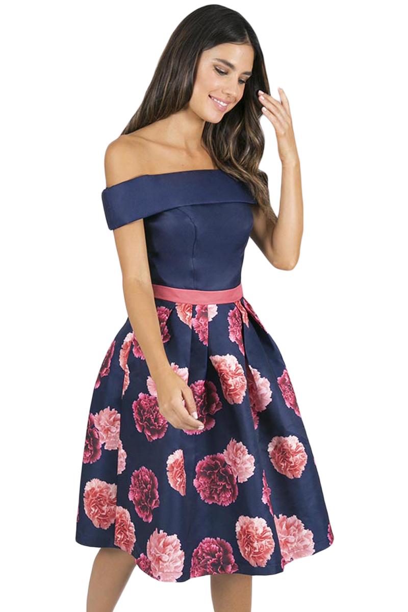 5dc9985cd8 Stylish Navy Blue Off Shoulder Flared Floral Dress