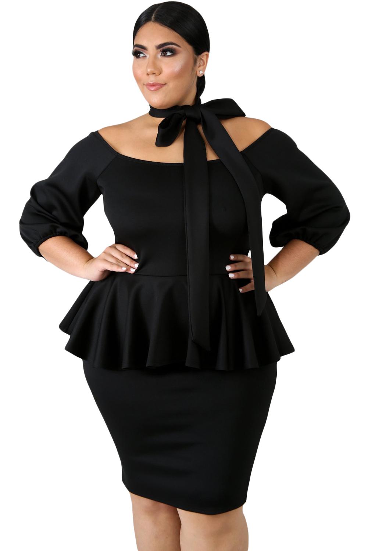 New Arrival Black Sash Tie Plus Size Peplum Dress