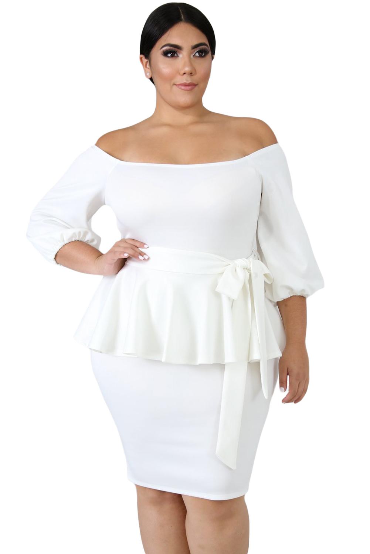 White Sash Tie Plus Size Peplum Dress