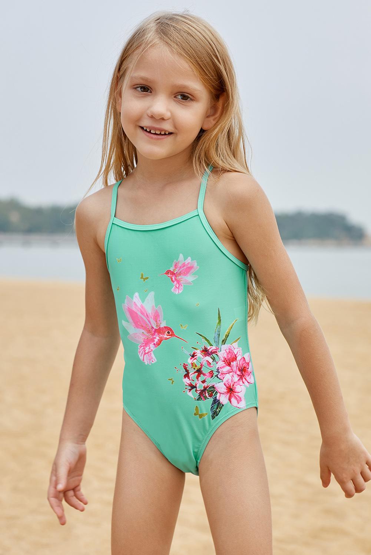 c7332ea132 US  3.5 - Mint Floral and Birds Little Girls One-piece Swimwear -  www.jnbwholesale.com