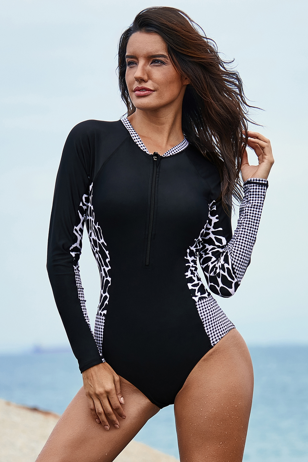 0b89f3c1fc Mottled Splice Long Sleeve Zip Front One Piece Swimsuit Item NO: LC410962-2