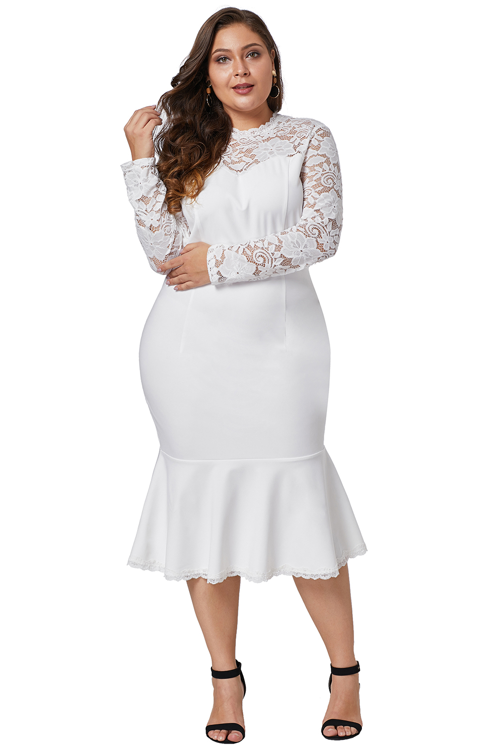 5a077971d730 Plus Size Peplum White Dress – All About The Dress A Bridal & Formal ...