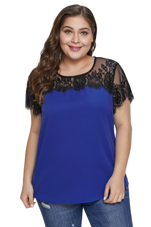 3947fcba5 US  4.2 - Blue Lace Yoke Plus Size Top - www.jnbwholesale.com