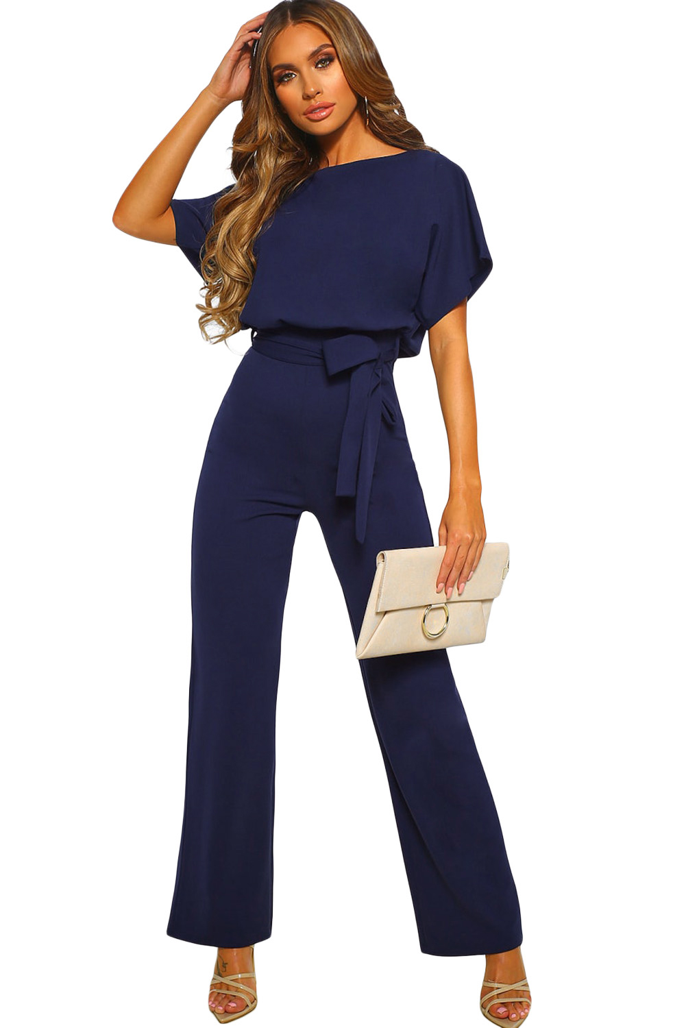 a98e13667c US  8.6 - Blue Oh So Glam Belted Wide Leg Jumpsuit - www ...