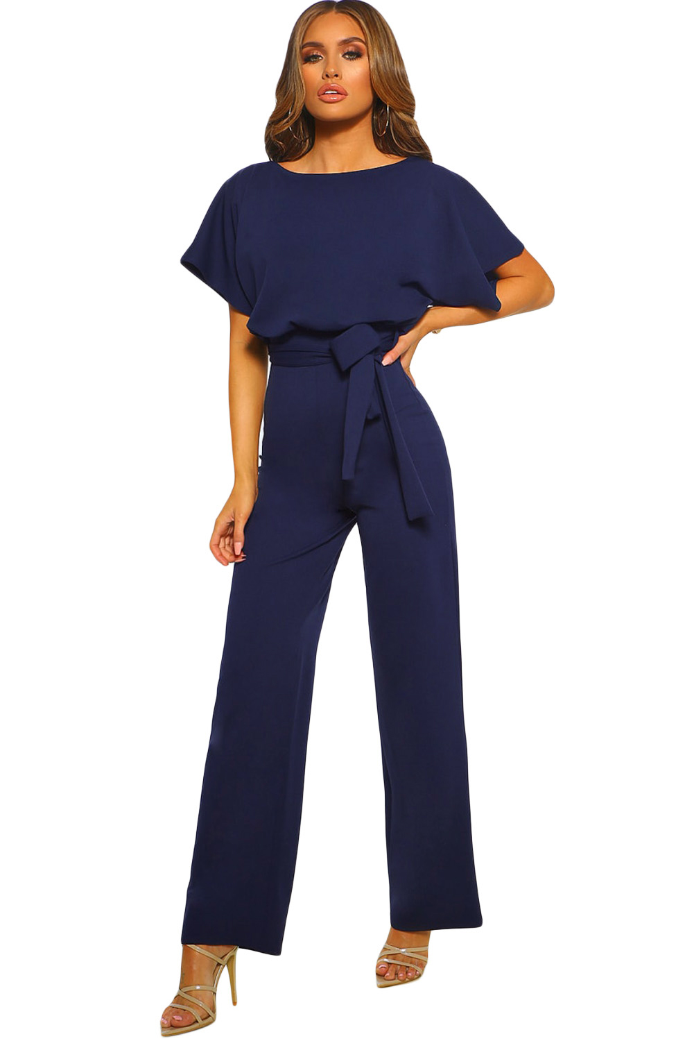 9d716adf83d US  8.6 - Blue Oh So Glam Belted Wide Leg Jumpsuit - www.jnbwholesale.com