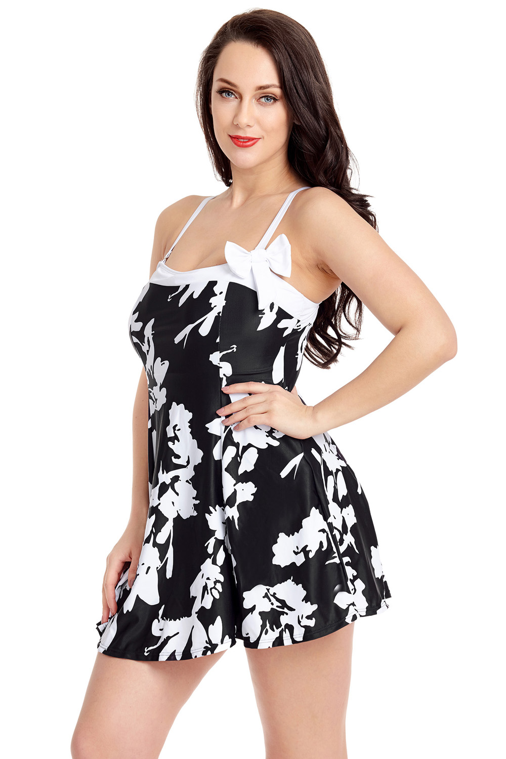 0a525e6ef04bb US$ 7.98 - White Floral Print Black Swimdress with Panty -  www.jnbwholesale.com