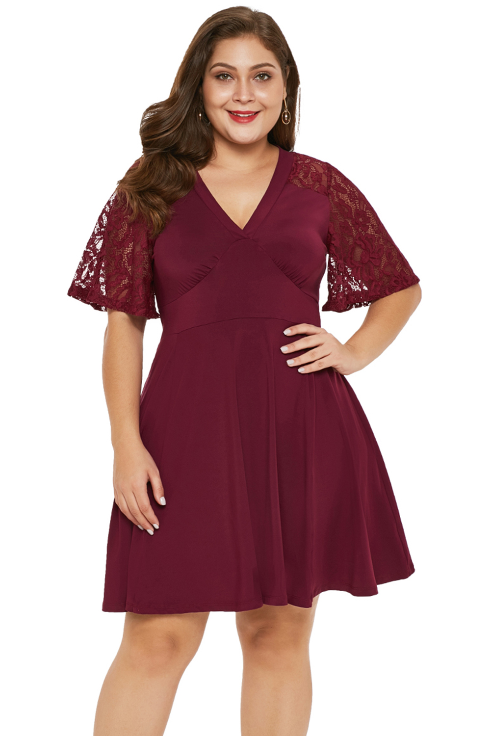 US$ 6.9 - Red Short Sleeve Lace Patchwork Plus Size Skater Dress ...