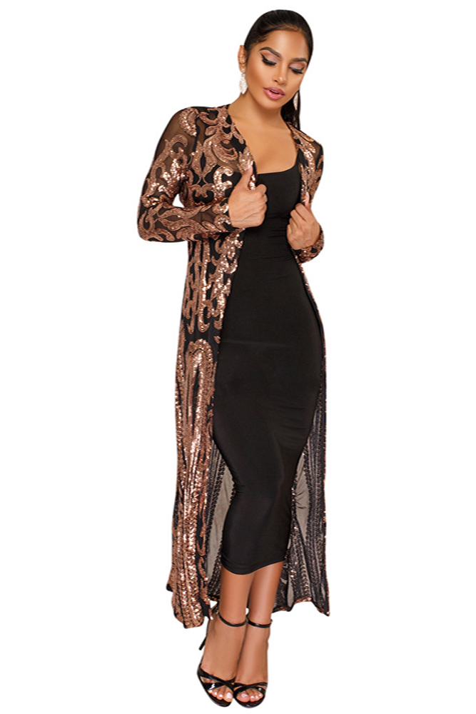 4fe079ade28b Black Apricot Sequin Fringe Sleeve Party Maxi Cardigans Item NO: K8482-B1