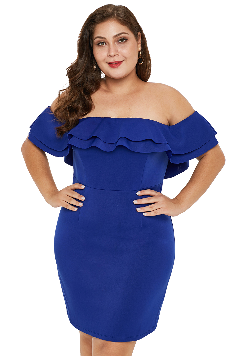 US$ 7.2 - Blue Layered Ruffle Off Shoulder Plus Size Dress ...