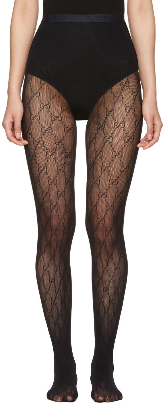 a6169b70b5701 2018 Autumn Black Stretch Knitted Tights with Allover Interlocking ...
