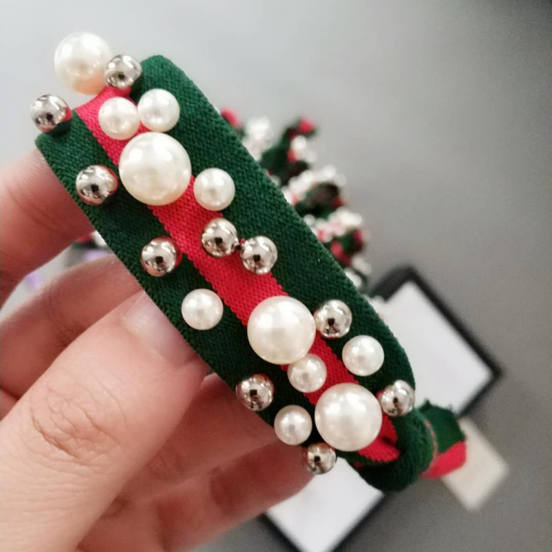 P1942 Red and Green Stripe Elastic Pearls Scrunchie Hair Rope
