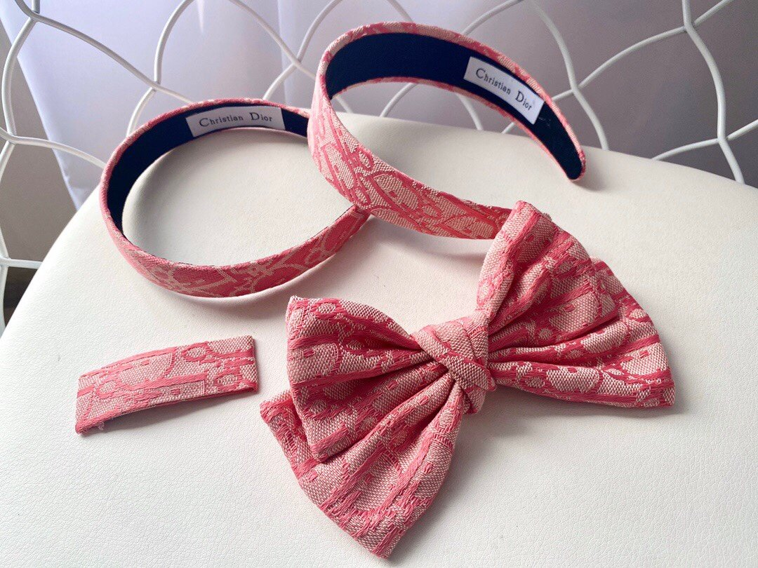 Dior Pink Headband Hairband Hair Clips