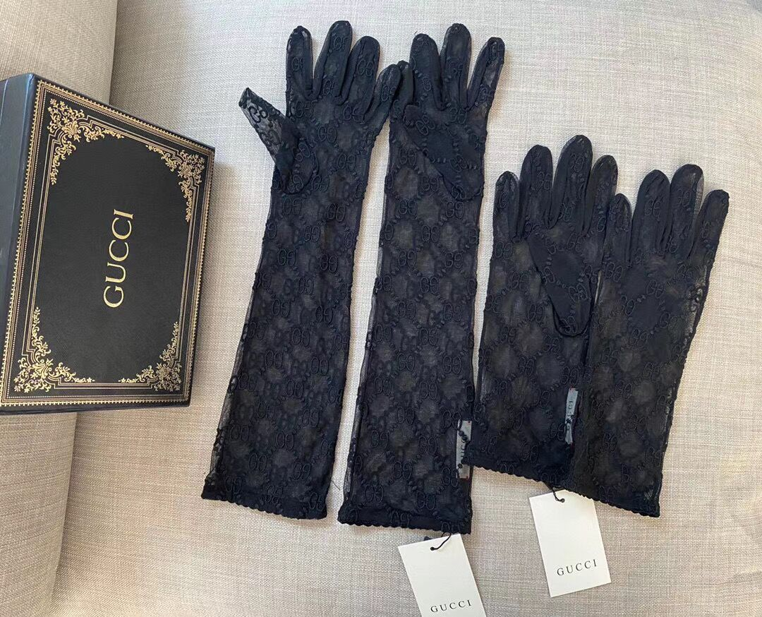 GG embroidered tulle Gloves Preorder