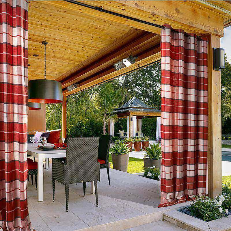 ChadMade Gingham Check Plaid Outdoor Curtain 100 W x 102 L Eyelet Grommet  For Traverse Rod at Front Porch Pergola Cabana Covered Patio Gazebo Dock  and Beach ... - ChadMade Gingham Check Plaid Outdoor Curtain 100 W X 102 L Eyelet